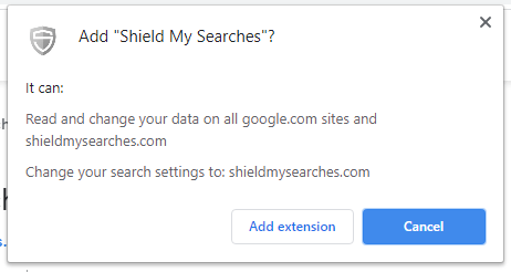 Shield My Searches installation popup