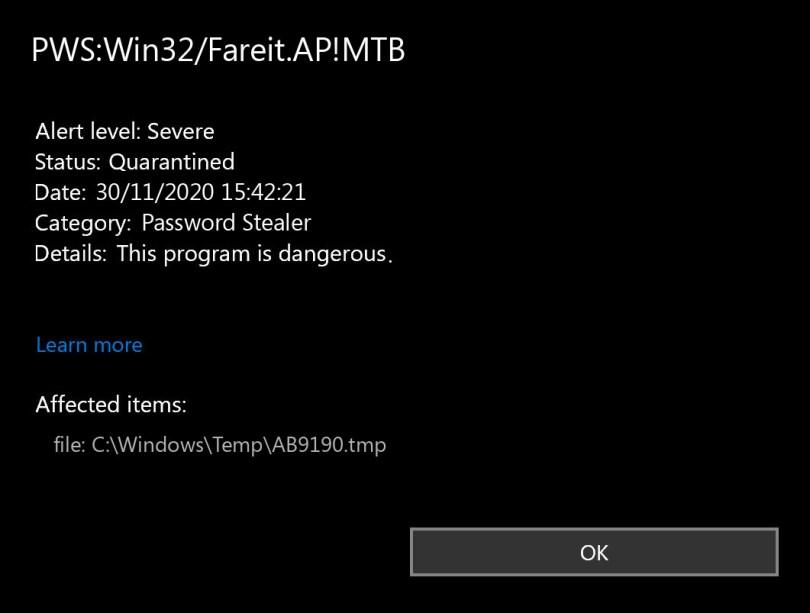 PWS:Win32/Fareit.AP!MTB found