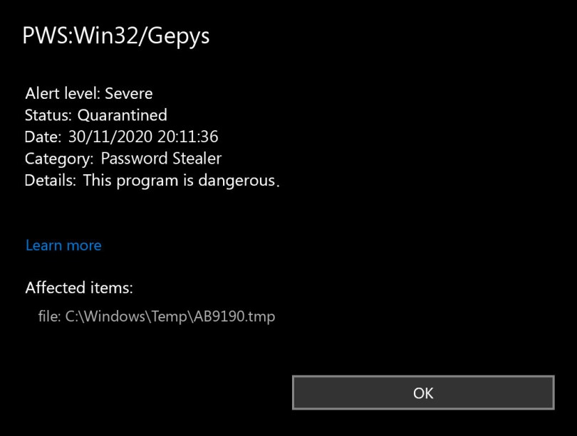 PWS:Win32/Gepys found