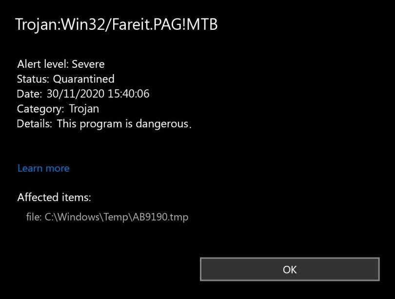 Trojan:Win32/Fareit.PAG!MTB found
