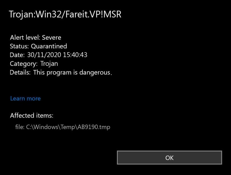 Trojan:Win32/Fareit.VP!MSR found
