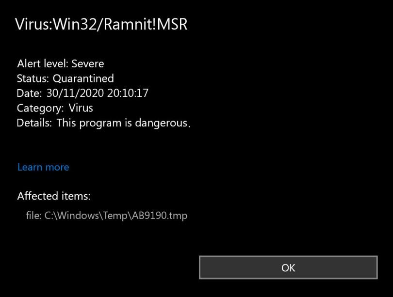 Virus:Win32/Ramnit!MSR found