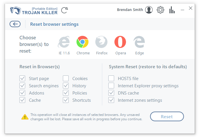 Reset browser settings window in Trojan Killer