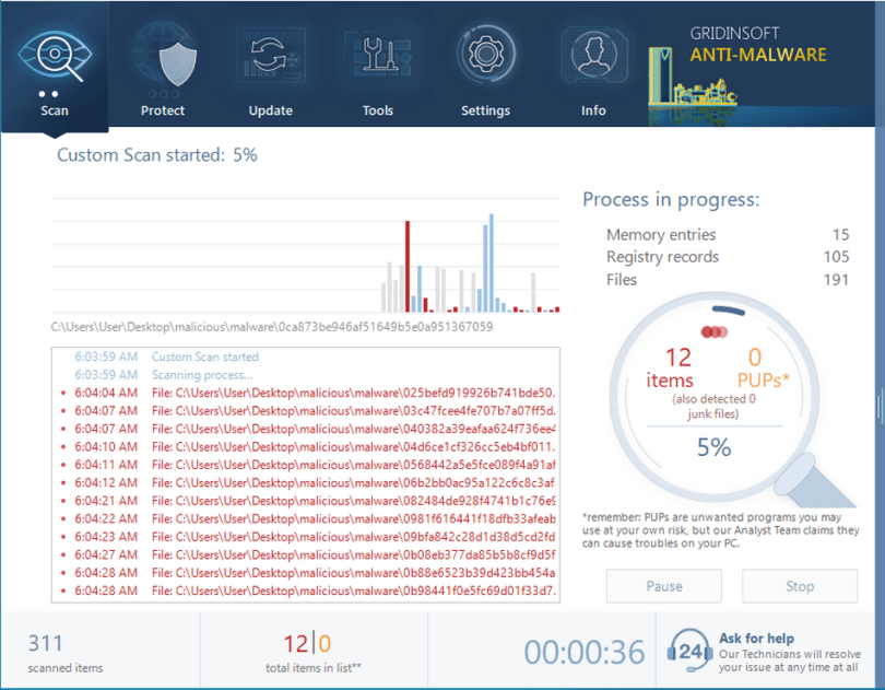 GridinSoft Anti-Malware during the scan process
