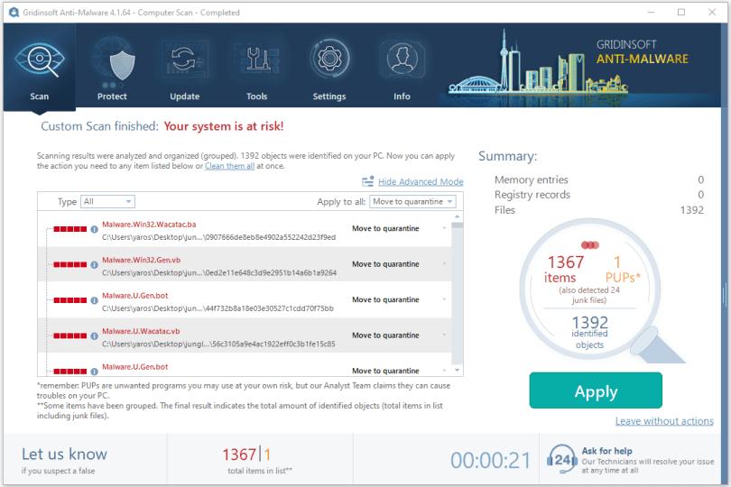 Gridinsoft Anti-Malware standard scan result