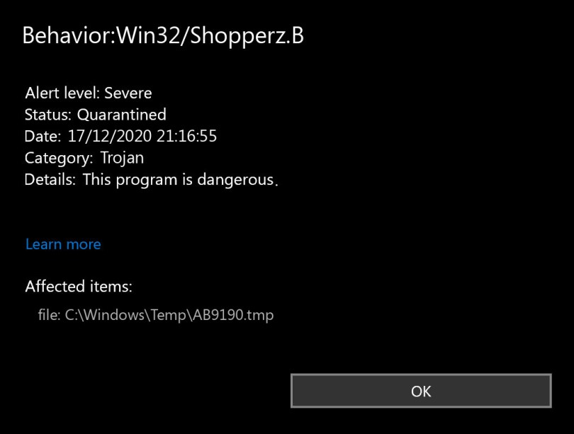 Behavior:Win32/Shopperz.B found