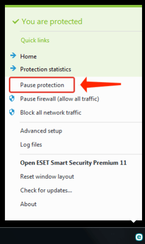 Temporarily Disable ESET antivirus - pause-protection