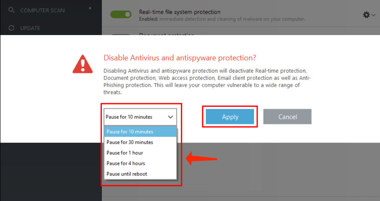 Confirm deactivation of antivirus and antispyware protection
