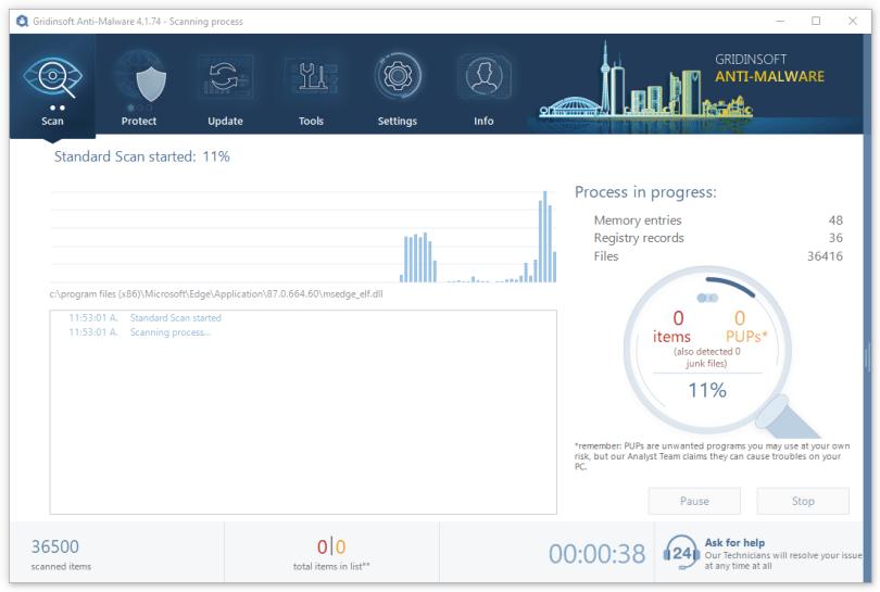 Scanning in GridinSoft Anti-Malware