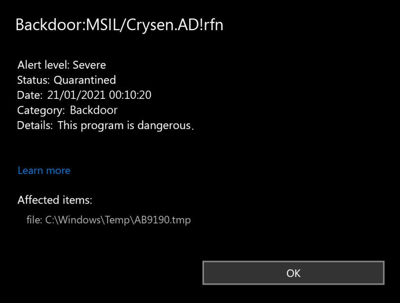 Backdoor:MSIL/Crysen.AD!rfn found