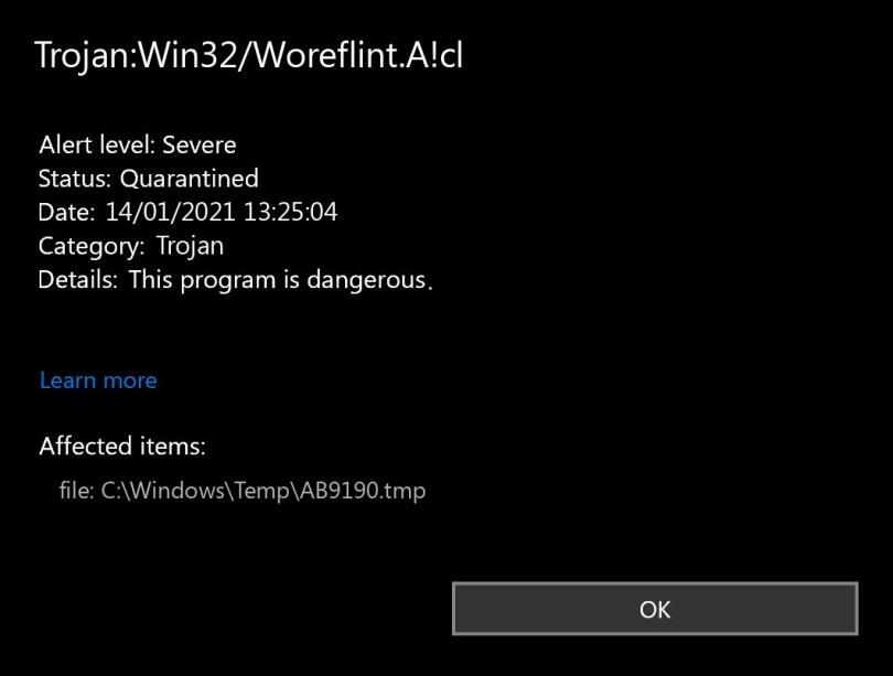 Trojan:Win32/Woreflint.A!cl found
