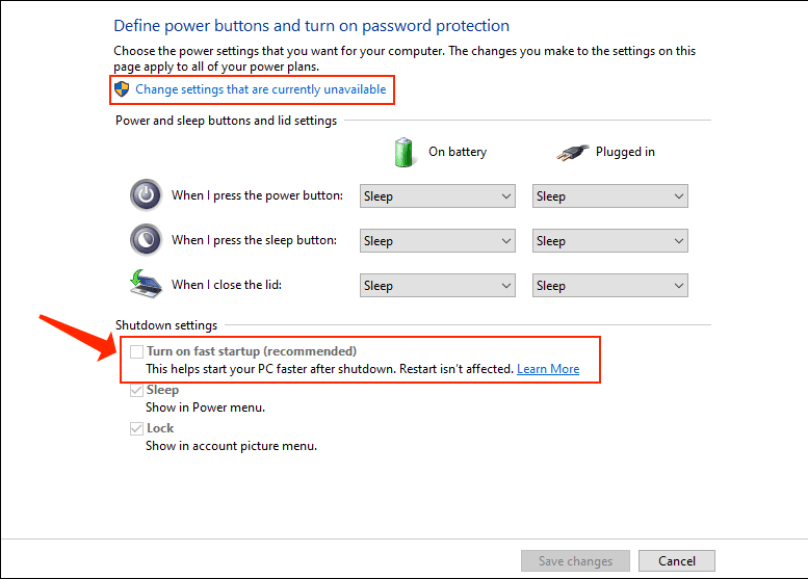 Disable Fast Startup Windows 10 - Change settings that are currently unavailable