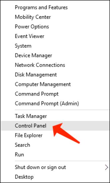 windows key + x open control panel