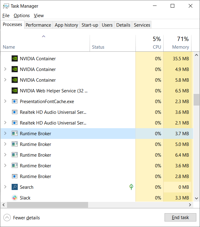 RuntimeBroker.exe process in Task Manager