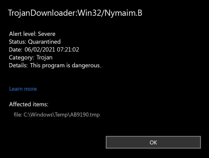 TrojanDownloader:Win32/Nymaim.B found