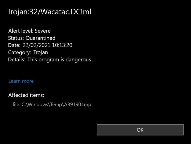 Trojan:32/Wacatac.DC!ml found