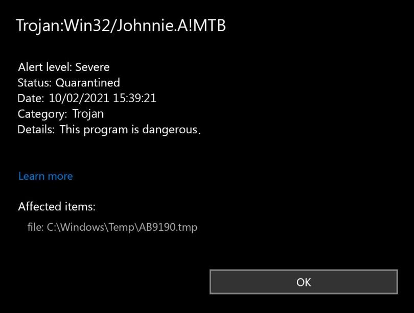 Trojan:Win32/Johnnie.A!MTB found