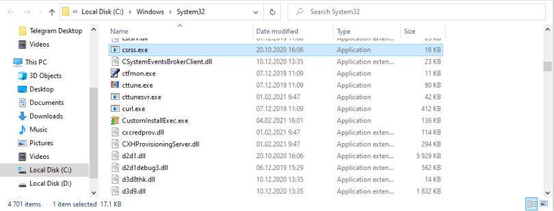 csrss,exe proper file location