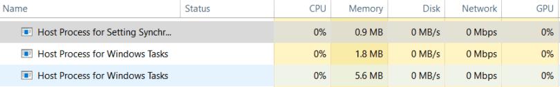 Host Process for Windows Tasks hardware consumption
