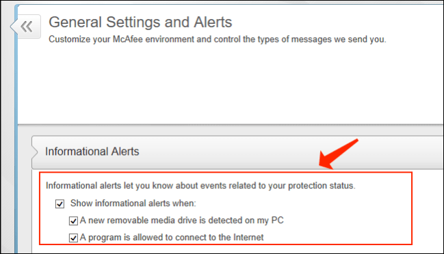 McAfee disable Notifications - General Settings and Alerts