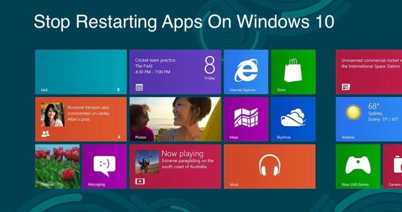 Stop Restarting Apps On Windows 10