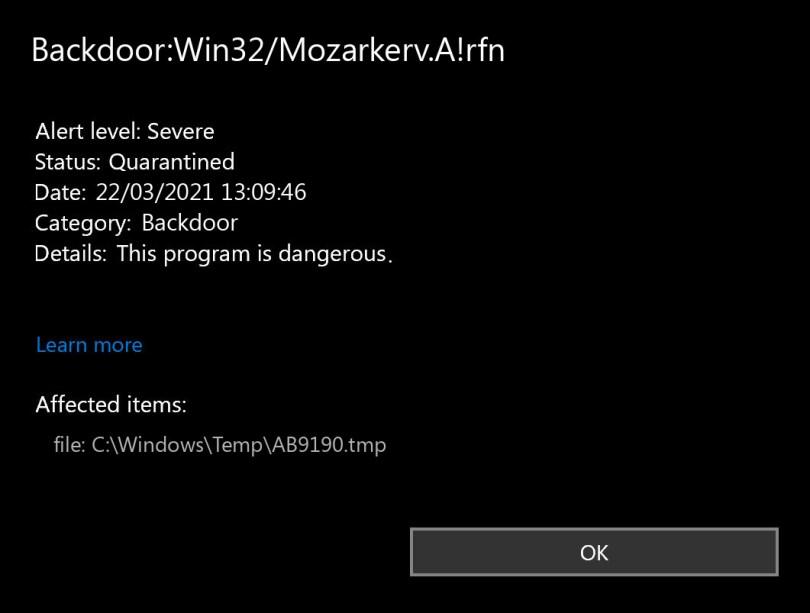 Backdoor:Win32/Mozarkerv.A!rfn found