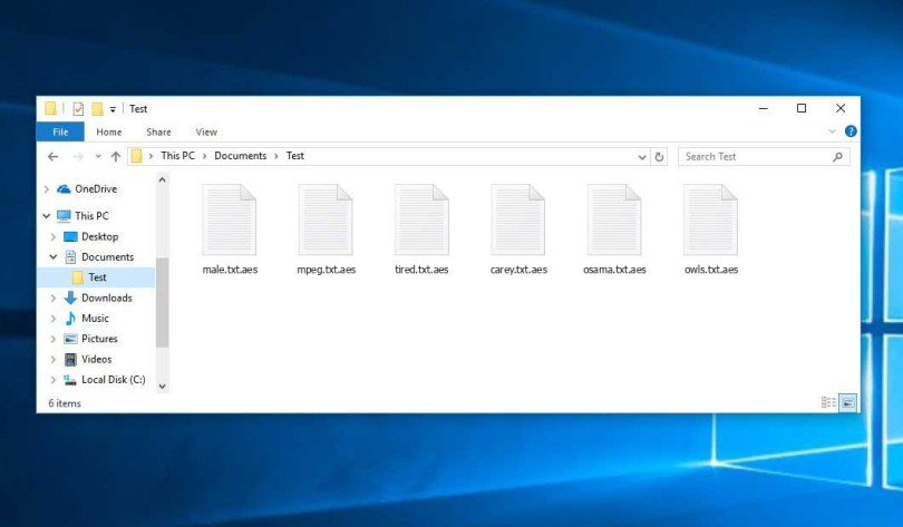 Onim 1.4 Virus - encrypted .aes files