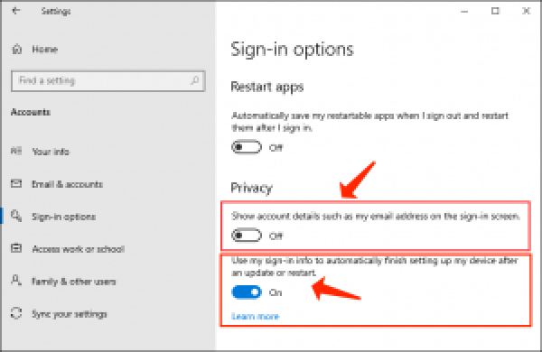 windows - settings sign in options privacy