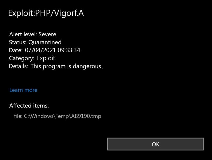 Exploit:PHP/Vigorf.A found