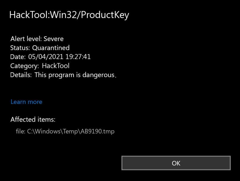 HackTool:Win32/ProductKey found