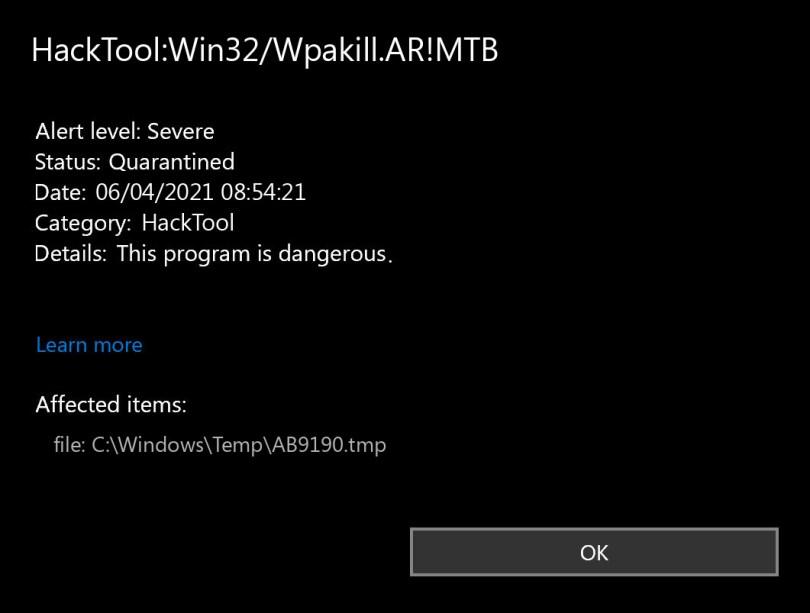HackTool:Win32/Wpakill.AR!MTB found
