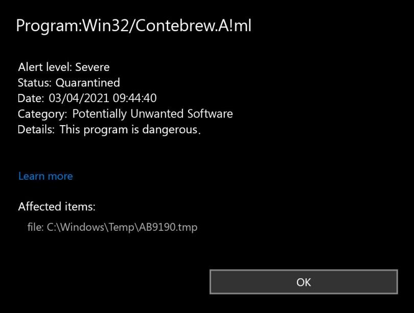 Program:Win32/Contebrew.A!ml found