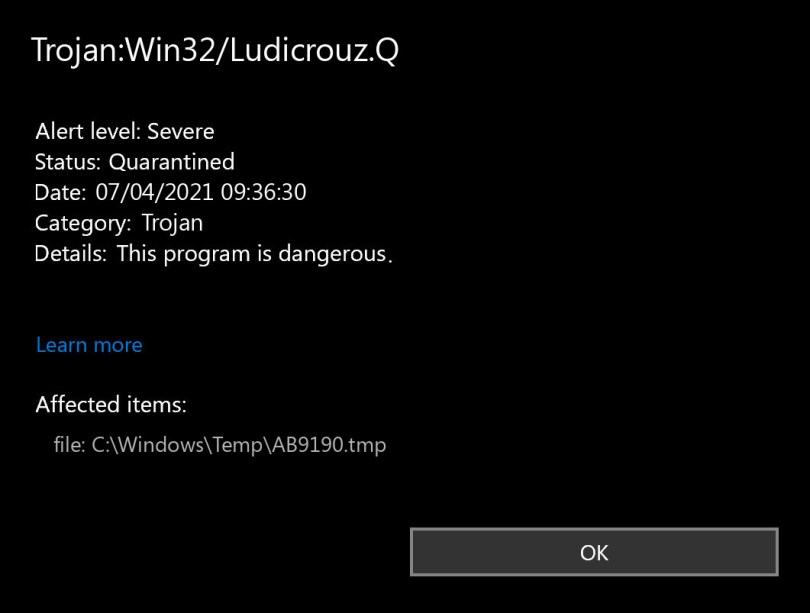 Trojan:Win32/Ludicrouz.Q found