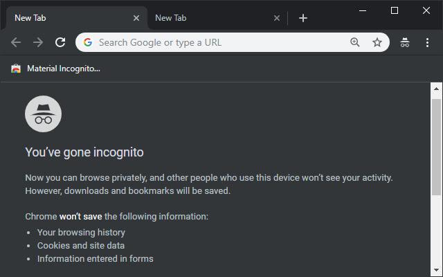 Chrome Incognito tab