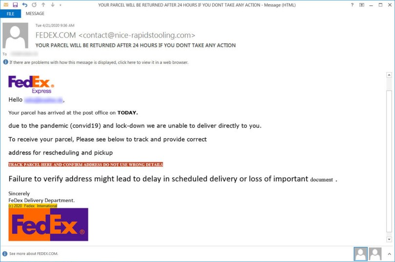 FedEx Express Email virus message