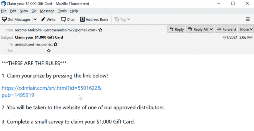 $1000 Gift Card scam message