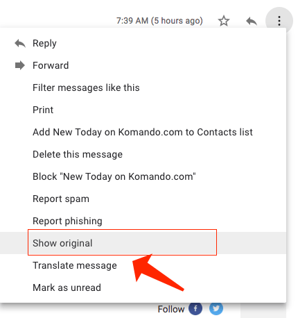 show original - gmail menu