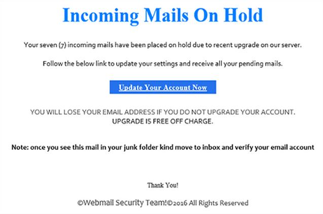 UPGRADE ACCOUNT virus spam email
