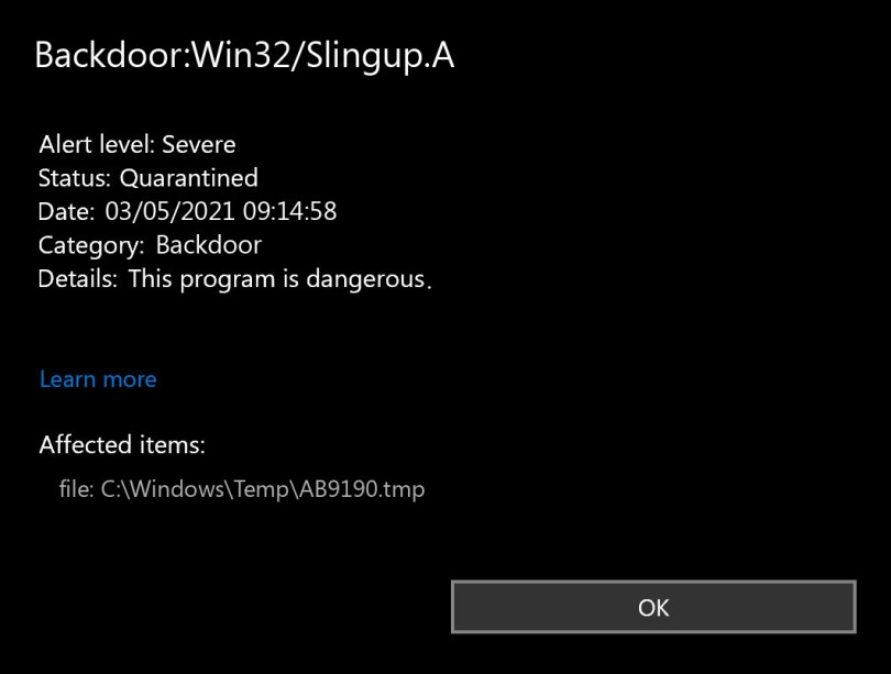 Backdoor:Win32/Slingup.A found