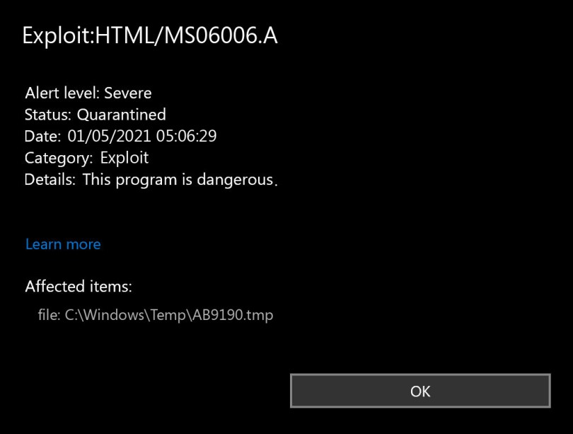 Exploit:HTML/MS06006.A found