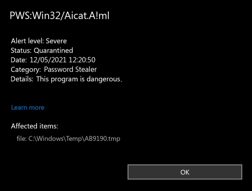 PWS:Win32/Aicat.A!ml found