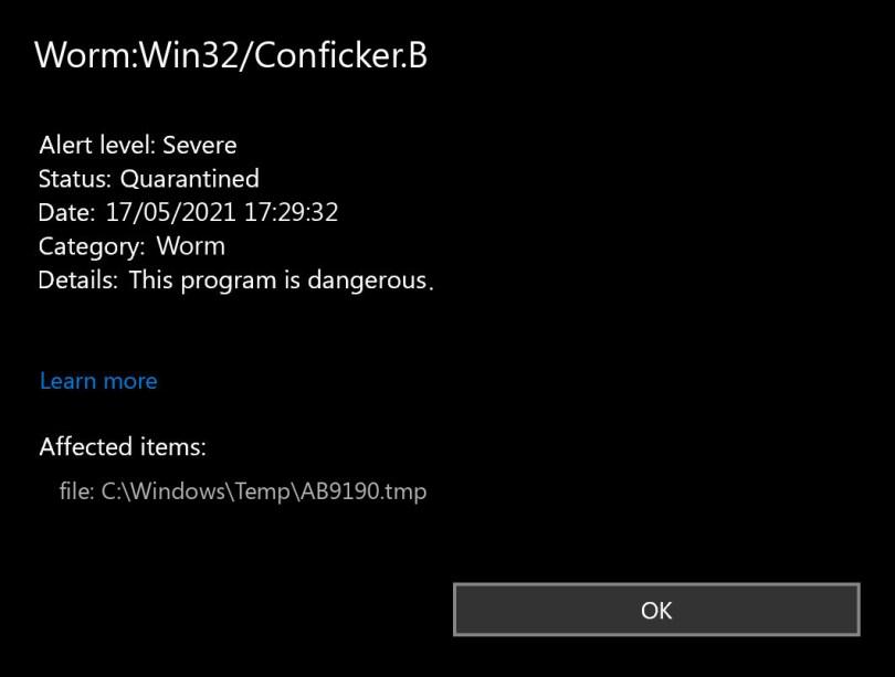 Worm:Win32/Conficker.B found