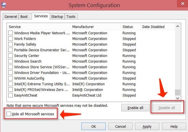 Update error 0x80244019 - hide all microsoft services