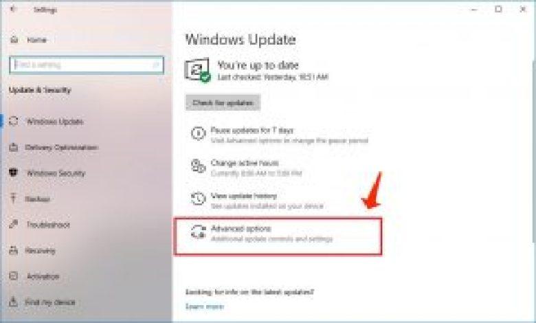 actualización de windows - opciones avanzadas