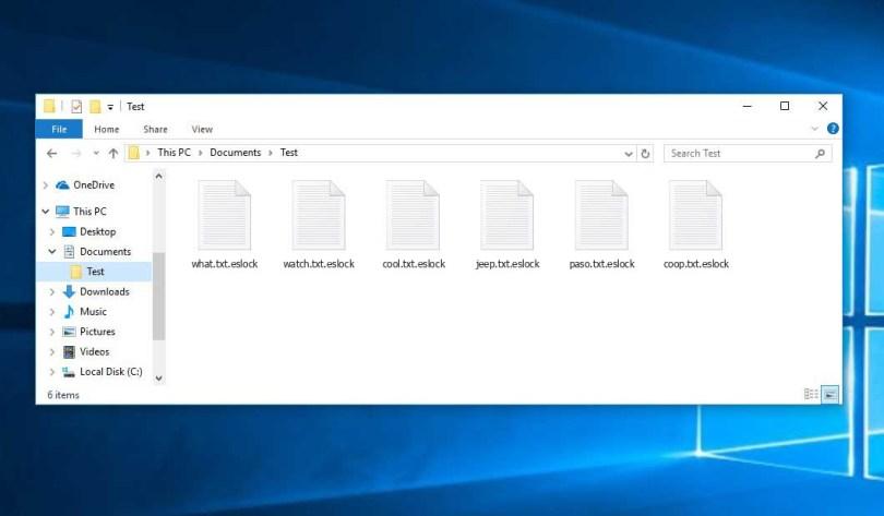 Eslock Virus - encrypted .eslock files