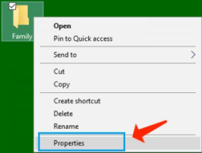 opción de propiedades de carpeta de archivos de Windows 10