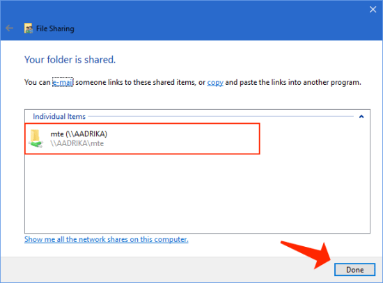 windows 10 - share folders - done