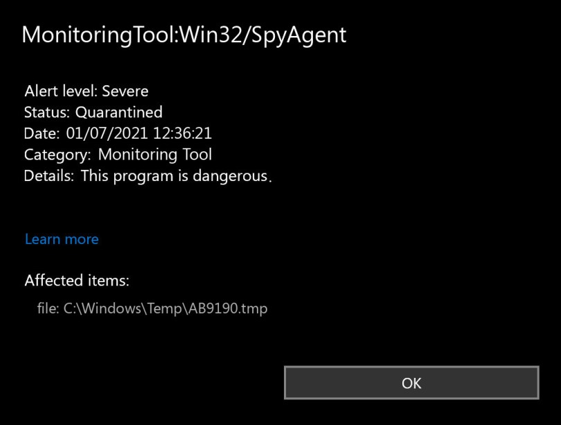MonitoringTool:Win32/SpyAgent found