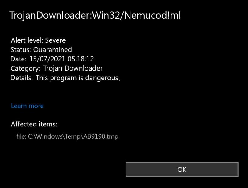 TrojanDownloader:Win32/Nemucod!ml found